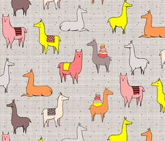 Ohh La Llama fabric by mrshervi on Spoonflower - custom fabric