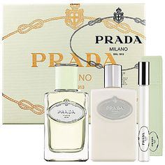 Prada Infusion d'Iris Gift Set   currently not in stock on sephora.com  $84      This set contains:  - 1.7 oz Eau de Parfum Spray  - 3.4 oz Hydrating Body Lotion  - 0.34 oz Eau de Parfum Roll-On and leather case