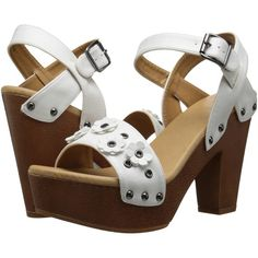 DOLCE by Mojo Moxy Joanna (White) High Heels (1.485 RUB) ❤ liked on Polyvore featuring shoes, sandals, white, wedge shoes, high heel platform sandals, white wedge shoes, chunky-heel sandals and wedge heel sandals