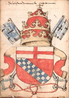 Arms of Innocent VIII (Giovanni Battista Cibo, 1484-1492). The coat of arms of the House of Cibo is here shown with the papal mitre and two keys argent in one of the earliest examples of these external ornaments of a papal coat of arms (Pope Nicholas V in 1447 was the first to adopt two silver keys as the charges of his adopted coat of arms). (f°7v =Bildnr22) -- «Wernigeroder (Schaffhausensches) Wappenbuch», [S.l.] Süddeutschland, 4. Viertel 15. Jh. [BSB-Hss Cod.icon. 308 n]