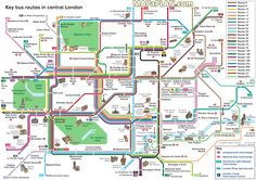 London maps - Key bus routes by tourist attractions in central London free printable map