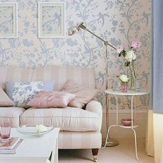 40 Shabby Chic Living Room Interior Designs for a Romantic Atmosphere - Decoration 4 Pastel Living Room, Shabby Chic Living Room, Living Room Decor, Living Rooms, Pastel Room, Country Living Room Wallpaper, Living Room Styles, Living Room Designs, Urban Deco