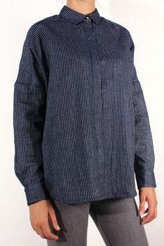 Sessun Delima Shirt  Indigo Stripes
