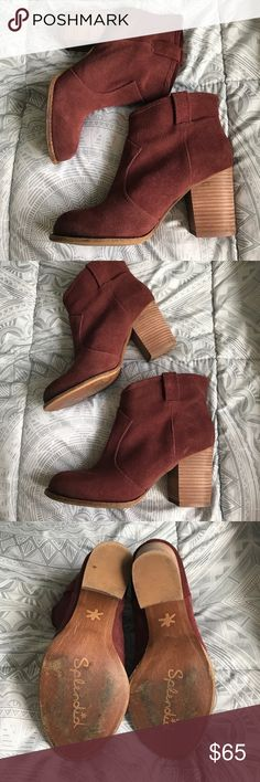 """Splendid Lakota Booties EUC Splendid maroon booties. Pull-on, suede, 3"""" heel. Purchased from another Posher but they are a little too tight on me! Please see bottoms to view usage from previous owner! Splendid Shoes Ankle Boots & Booties"""