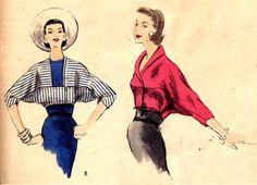 Vintage 1950s Very Easy Vogue 8726 Bolero Jacket Sewing Pattern Dolman Sleeve Bust 31 UNPRINTED. $24.95, via Etsy.