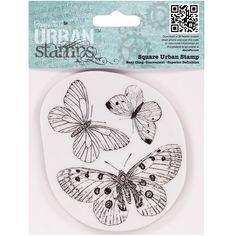 docrafts Papermania Cling Urban Stamp, Butterflies, 4 by 4-Inch (purchased 6.4.15 $4.49 @amazon)(coll, butterflycoll)