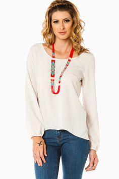 Skena Blouse in Ivory / ShopSosie #ivory #lowback #crisscross #strap #long #sleeve #blouse #shopsosie