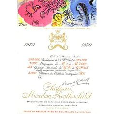 The 1970 Chateau Mouton Rothschild label by Marc Chagall
