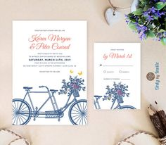 Printable tandem bicycle wedding invitation  by OnlybyInvite