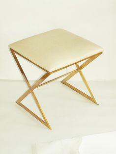 Worlds Away X stool | Gold + White ostrich x-stool | Brass stools