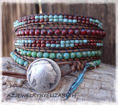 Native American Leather Wrap Bracelet Handmade With Red And