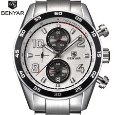 New BENYAR Luxury Famous Brand Men Watches Men's Fashion Casual Steel band watch Military Quartz Sport Watch Clocks Wristwatch