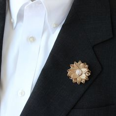 Small Lapel Flower for Men Gold Lapel Flower Gold Boutonniere Mens Lapel Flowers Mens Flower Lapel Pin Grooms Flower Gift for Him