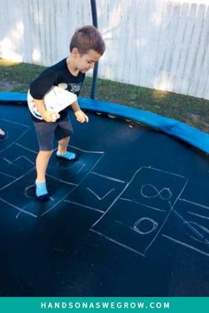 Simple gross motor game to get your kids active on a trampoline!  Toddler and preschooler activity to get them jumping. Teach numbers and counting at the same time!