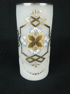 Antique Victorian Bohemian Bristol Enamel Clambroth Opaque Frosted Glass Vase NR #Victorian
