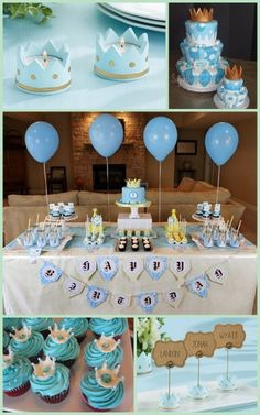 Little Prince Baby Shower or Birthday Theme Idee Baby Shower, Baby Shower Sweets, Shower Bebe, Baby Shower Parties, Baby Shower Themes, Baby Boy Shower, Baby Shower Decorations, Shower Ideas, Prince Birthday Theme