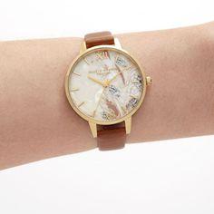 Olivia Burton Abstract Florals Ladies Watch (OB16VM39) MultiColour   WatchShop.com™ Olivia Burton, British Style, Tan Leather, Michael Kors Watch, Gold Watch, Floral Prints, Quartz, Watches, Lady