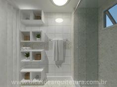 Nichos no banheiro. http://dicasdearquitetura.com.br/antes-e-depois-banheiro-reformado/