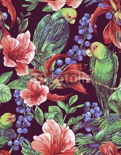 Zdjęcia na płótnie, fototapety, obrazy : Seamless Background with Tropical Flowers, Parrots
