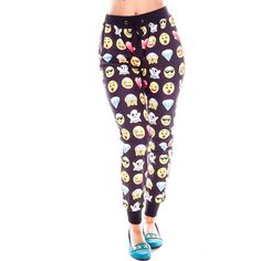 Black Emoji Print Stretchy Waist Casual Pants ($24) ❤ liked on Polyvore featuring pants, black, patterned pants, drawstring pants, elastic waist pants, black stretch pants and black trousers