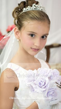 Large style metal first communion tiara with crystals . Veil is sold separately. NOTE: this tiara measures approx. Girls First Communion Dresses, First Communion Veils, Holy Communion Dresses, First Communion Party, First Holy Communion, Flower Girl Hairstyles, Wedding Hairstyles, Communion Hairstyles, Girls Updo