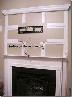 Hiding TV cables... Faux fireplace inspo!