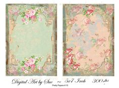 Instant Download  Pretty Papers No. 15  5 X 7    Collage
