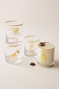 Hair Of The Dog DOF Glass by Anthropologie in Yellow, Glassware Gin On The Rocks, Anthropologie, Leather Club Chairs, Dog Gifts, Hand Blown Glass, Biography, Dinnerware, Place Card Holders, Tableware