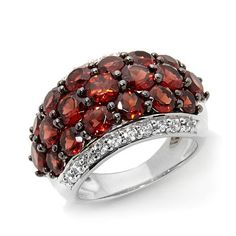 """Colleen Lopez """"Mulberry Kiss"""" Garnet and White Zircon Sterling Silver Dome Ring Hsn Jewelry, Garnet Jewelry, Different Shades Of Red, My Birthstone, Size 10 Rings, Gemstone Rings, Wedding Rings, Sterling Silver, Purple"""