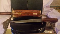 Vintage Forged Steel Carving Set Knife& Serving Fork Carved #Knives #SteelKnife #TeakWood #KnifeWoodSheath KnifeWoodScabbord #KnifeServingFork WoodSheathLatches #DWedgeCreations #Etsy #EtsyShop #Etsybestseller @DWedgeCreations