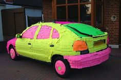post it art, the kids in my sons high school are doing this to each other cars at night!