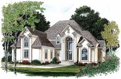 Eplans NeoClassical House Plan - Dramatic Transitional-Style Home - 2967 Square Feet and 3 Bedrooms from Eplans - House Plan Code Rustic House Plans, European House Plans, Craftsman House Plans, Modern House Plans, Small Luxury Homes, Luxury Homes Exterior, Dream Home Design, House Design, Looking For Houses