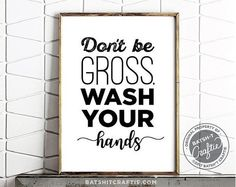 Bathroom Sign Printable / Wash Your Hands / Bathroom / Funny sign / GIft / Gross / Septic System / T Bathroom Wall Art, Bathroom Humor, Bathroom Signs Funny, Bathroom Ideas, White Bathroom, Boho Bathroom, Small Bathroom, Wall Art Quotes, Sign Quotes