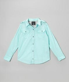 Love this Aqua Epaulet Button-Up - Infant, Toddler & Boys by Calvin Klein Jeans on #zulily! #zulilyfinds