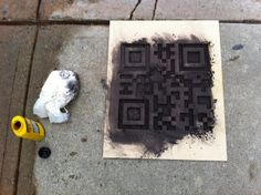 Smart Phone Follow Party. Sidewalk QR Codes - use spray chalk or sidewalk paint