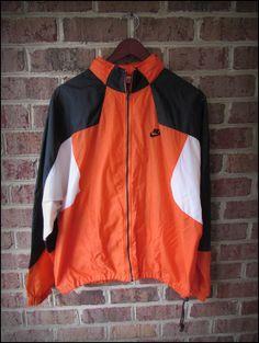 Vintage 90's Nike Orange Black Running Track Jacket by CharchaicVintage, $20.00 Vintage Windbreaker, Nike Windbreaker, Mode Vintage, Vintage Nike, 80s And 90s Fashion, Fashion Outfits, Spring Jackets, Vintage Jacket, Pants Outfit
