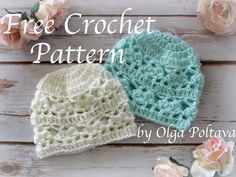 Newborn Hat with Lace Design, Free Crochet Pattern