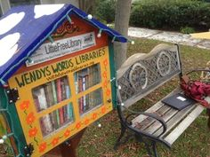 Wendy's Words Library Little Free Libraries, Little Library, Free Library, Community Building, Random Acts, Grand Opening, Amazing Places, The Good Place, Recycling