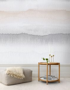 Textured, fancy walls are so in right now—and watercolor walls are just continuing that trend. Check out these pretty rooms that style the watercolor wall mural really well, for inspiration on how to do it in your home. Watercolor Wallpaper, Watercolor Walls, Fabric Wallpaper, Ombre Wallpapers, Interior And Exterior, Interior Design, Interior Walls, Modern Wallpaper, Wallpaper Ideas