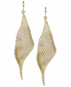 Steve Madden Gold-Tone Mesh Drop Earrings $18 (hmmm...goes with shoe not dress so much)