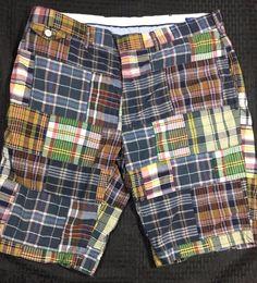 Polo Ralph Lauren Sportswear Mens Shorts Madras Plaid 35W Patchwork Navy Blue #PoloRalphLauren #CasualShorts