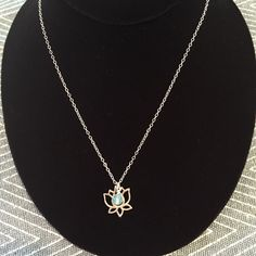 Sterling Silver Lotus & crystal necklace by TropicOfCapricorn