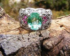 Apatite & Pink Sapphire Cocktail Ring in by GoldiesNaturalGems, $140.00 #handmadebot