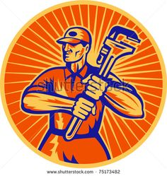 vector illustration of a plumber holding a monkey wrench set inside circle done in retro woodcut style - stock vector #plumber #woodcut #illustration