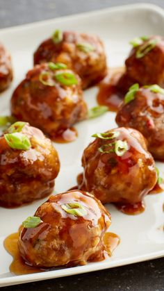 These simple, stir fry-inspired meatballs, finished with a four-ingredient teriyaki glaze, are the perfect appetizer to add to your list of favorites. Teriyaki sauce too thick? Thin it out by adding 1 to 2 tablespoons water to warm glaze, stirring to combine.