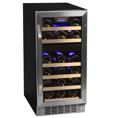 Keep your red and white wines chilled to a perfect temperature with this 26-bottle, stainless steel wine coller from EdgeStar. This cooler features two seperate, digitally controlled zones. According