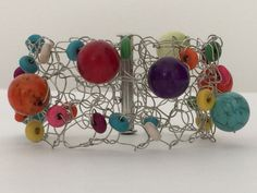 Colorful Candy Gum Bracelet 7 Handmade Knitted Silver by CatDKnits