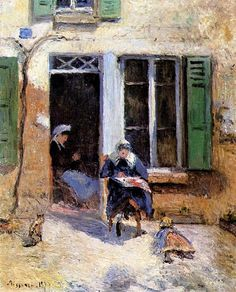 Woman and Child Doing Needlework, 1877 Camille Pissarro