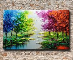 contemporary wall artPalette Knife Paintingcolorful Landscape paintingwall decorHome DecorAcrylic Textured Painting ON Canvas Chen BBBB