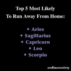 Zodiac Signs: Top 5 Most Likely To Run Away From Home...true!lol